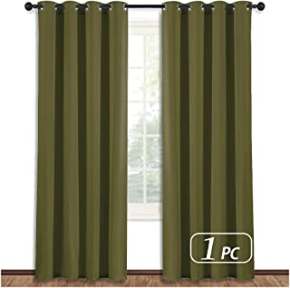 NICETOWN Blackout Curtain Blind Window Panel - (Olive Green Color) Home Decor Window Treatment Drape Modern Design Drapery for Christmas Patio Door Room, 52Wx84L,1 Panel