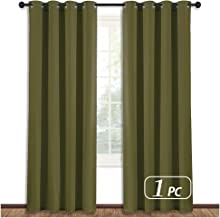 NICETOWN Blackout Curtain Blind Window Panel - (Olive Green Color) Home Decor Window Treatment Drape Modern Design Drapery for Patio Door Room, 52Wx84L,1 Panel