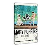 Mary Poppins Art Movie - Póster de lona vintage para dormitorio, decoración deportiva, paisaje, oficina, habitación, regalo, 60 x 90 cm. Marco: