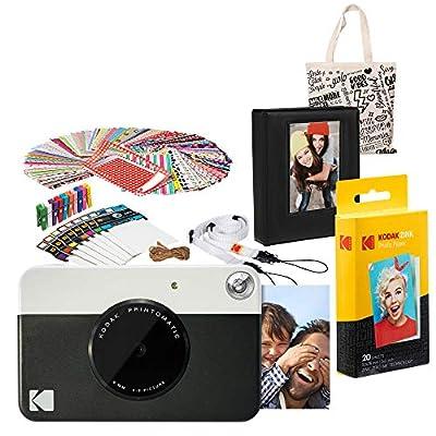 Kodak PRINTOMATIC Instant Print Camera (Black) Gift Bundle with Photo Album by Kodak