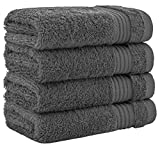 Luxury Turkish Cotton Washcloths for Easy Care, Extra Soft & Absorbent, Fingertip Towels, 4 Pack Washcloth Set by United Home Textile, Charcoal Grey