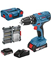 Bosch Professional 18V System accuschroefklopboormachine GSB 18V-21 (incl. 2x 2,0 Ah accu, 40-delige accessoireset, in L-BOXX) - Amazon Edition