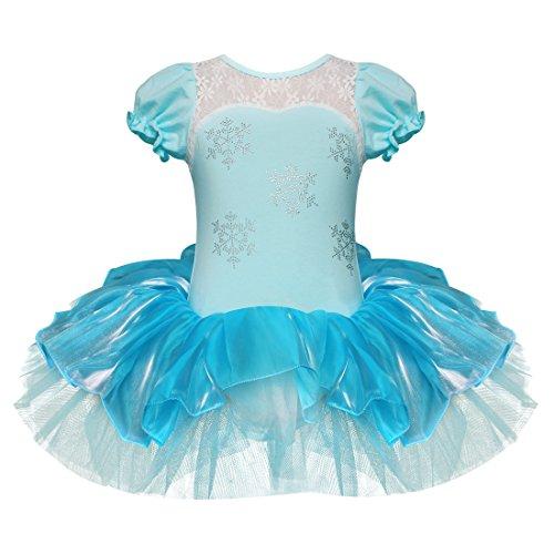 iEFiEL Mädchen Ballett Kleid Ballettanzug Tanzkleid Tütü Tüllrock Party Fest Cosplay Kostüm (110-116, Blau&Weiß)