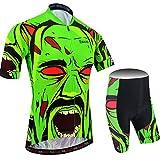 BXIO Camisetas de Ciclismo para Hombre Fluo Green Mangas Cortas y Pantalones Cortos Acolchados con Gel Trajes de Ciclismo Transpirables Ropa Ciclismo 204 (Fluo Green(204,Shorts), M)
