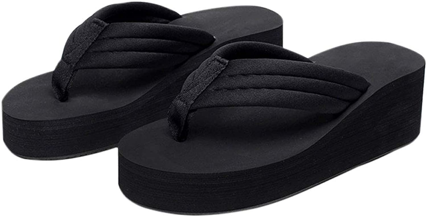 HUYP Black Flip-flops High-Heeled Slippery Simple Sandals and Slippers Fashion Beach shoes (Size   5.5 US)