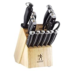 Set includes 3 inches paring knife 5 inches serrated utility 7 inches santoku knife hollow edge 8 inches Chef's Knife 8 inches bread knife 6 4.5 inches Steak Knife Sharpening Steel Kitchen Shears and Hardwood Block Fabricated from high quality stainl...