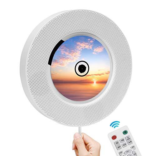 Reproductor de CD portátil con Bluetooth- Altavoces Alta fidelidad Incorporados, Admite Radio FM Tarjeta TF Conector de 3,5 mm Entrada Salida Auxiliar, Regalo para niños, Amigos -2020 más Reciente