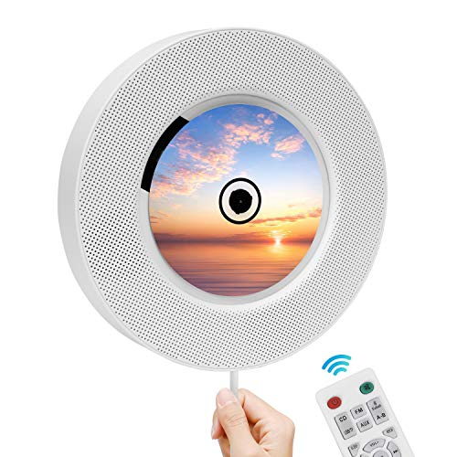 Tragbarer CD-Player mit Bluetooth, FM-Radio, wandmontierbarem CD-Musik-Player mit IR-Fernbedienung, eingebauten HiFi-Lautsprechern, Support CD, USB, TF, AUX-Eingang, Wohnkultur