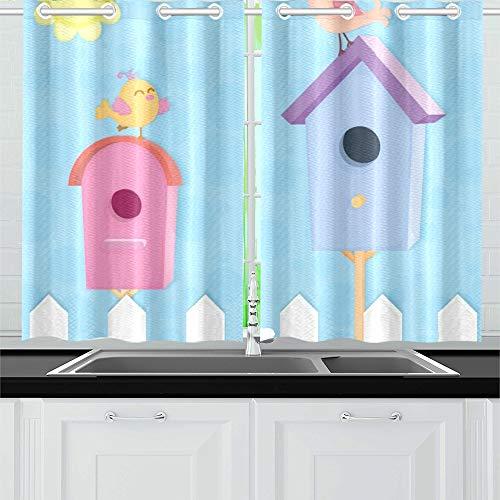 QIAOLII Zwei Bunte Nistkästen lustige Vögel Küche Vorhänge Fenster Vorhang Stufen für Café, Bad, Wäscheservice, Wohnzimmer Schlafzimmer 26 X 39 Zoll 2 Stück