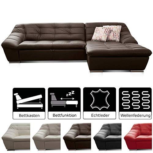 Cavadore Leder-Sofa Lucas / L-Sofa mit Schlaffunktion in Echtleder mit Steppung / Longchair rechts / Inkl. Bettfunktion und Bettkasten / Größe: 287 x 81 x 165 (BxHxT) / Leder braun