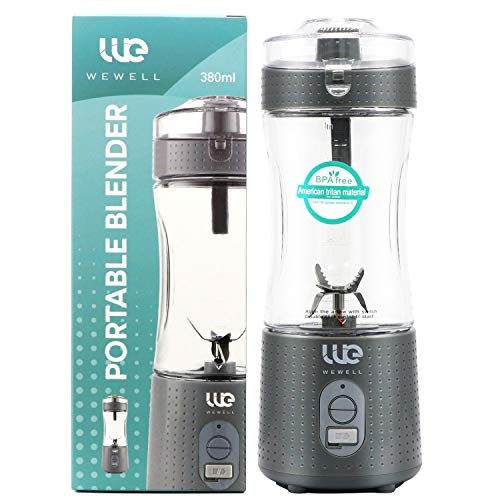 Wewell Portable, Handheld Blender, Personal Size Blender Smoothies and Shakes, Mini Jucier Cup USB Rechargeabl USB Rechargeable with Six Blades, Home, Travel, Gray