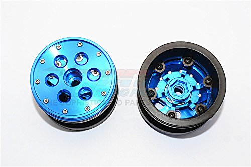 GPM Aluminium+ Plastic Beadlock Weighted Wheels with Weight Holder & Bearings Suitable for All 2.2'' Tires - 1Pr Set Blue