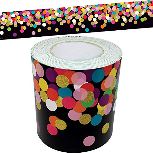 Teacher Created Resources Colorful Confetti on Black Straight Rolled Border Trim, Model:TCR8898