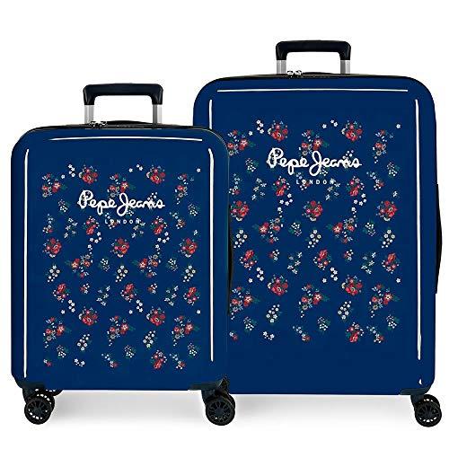 Pepe Jeans Taking off Juego de maletas Azul 55/70 cms Rígida ABS Cierre TSA 119.4L 4 Ruedas dobles Equipaje de Mano