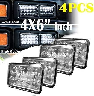 4PCS 2018 New Upgrade LED Headlight 4X6 Inch Rectangular Sealed Beam Lights For GMC W3500 W4500 W5500 Forward Isuzu NPR-HD NQR, Replace High Beam/Low Beam H4 Plug H4651 H4642 H4652 H4656 H4666 H4668 H