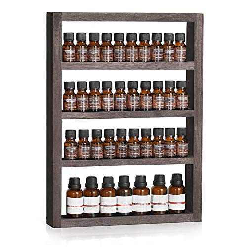 Wall Mounted Essential oil Storage with 4 Tier Shelves Nail Polish Wall Rack, Wooden Nail Polish Holder Display Organizer, Durable Bottle Storage (Brown)