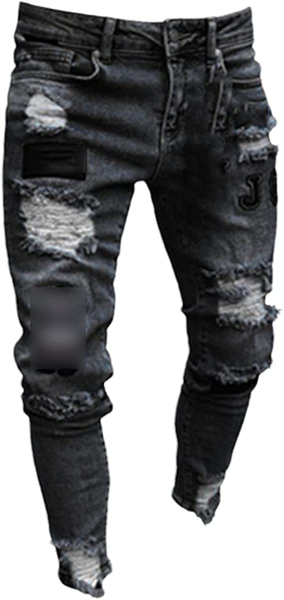 CACLSL Men's high Stretch Skinny Jeans Black Ripped Motorcycle Jeans Foot Zipper Jogging Casual Pencil Trousers