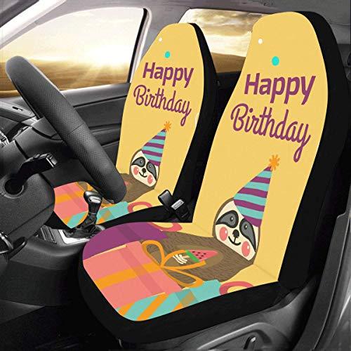 Smalaty Gelukkige Verjaardagskaart met Leuke Dier Beste Wens Aangepaste Universele Fit Auto Drive Auto Seat Covers Protector voor Vrouwen Automobile Jeep Truck SUV Voertuig Volledige Set Accessoires 2pcs Als afbeelding