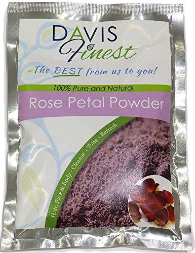 Davis Finest Polvo de pétalos de rosa para cabello y piel, minimizador de poros, aligeramiento de la piel, aclarado, endurecedor, hidratante, antienvejecimiento, máscara facial vegana con manchas 100g