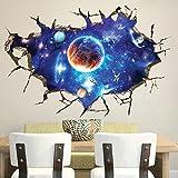 Wallpark 3D Roto Muro Azul Exterior Espacio Universo Galaxia Planeta Desmontable Pegatinas de Pared Etiqueta de la Pared, Bebé Niños Hogar Infantiles Dormitorio Vivero DIY Decorativas Arte Murales