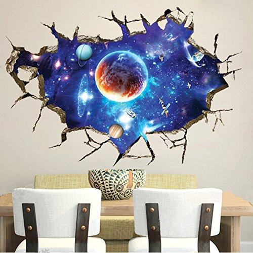 Wallpark 3D Mur Brisé Bleu Extérieur Espace Univers Galaxie Planète Amovible Stickers Muraux Autocollants, Enfants Bébé Chambre Pépinière DIY Décoratif Adhésif Stickers Mural