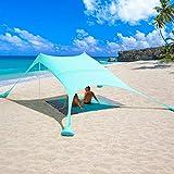 2,4x2,4 m Tende da Spiaggia Pop-up per 3-5 Persone, UPF 50+ Protezione Tendalino parasole da spiaggia portatile con Coperte e 4 Sacchi di Sabbia da Ancoraggio, Include Borsa Portatile (Turchese)