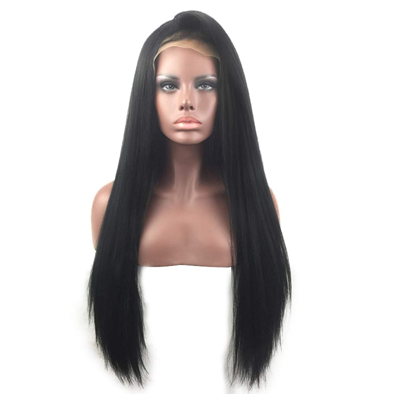 彼女は理想的休日女性ストレートヘア4×4レース前頭かつらブラジルバージン人間の髪かつらで赤ちゃんの髪ナチュラルブラック70センチ