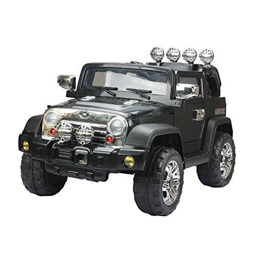 HOMCOM Elektroauto Kinderauto Kinderfahrzeug Kinder Elektro Auto Fahrzeug Spielzeug (Jeep/schwarz)*