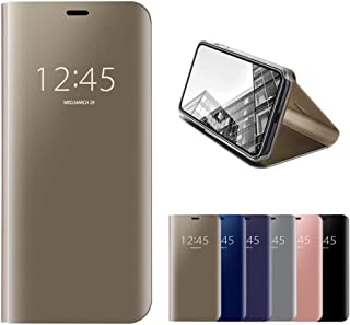 HMOON Mirror Case for Huawei P8 Lite 2017 Gold, Premium PU Leather Flip Case + Hard PC Back Cover Luxury Clear View Design Protective Shell with Stand Function for Huawei P8 Lite 2017