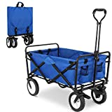 FIXKIT Collapsible Folding Outdoor Utility Wagon, Heavy Duty Garden Cart with Carrying Bag, Wheel Brakes and 2 Cup Holders (Blue)