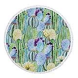 xkjymx Toalla de Playa Redonda de Microfibra para el Viento Estampado de Plantas Tropicales con Borla 150cm Figura 6 150X150cm
