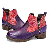gracosy Women's Leather Ankle Booties, Block Heel Boots Comfort Warm Fur Lined Short Winter Boots Flower Splicing Pattern Handmade Vintage Shoes Purple 6 M US