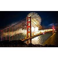 ゴールデンゲートブリッジジグソー世界的に有名な風景花火シーン高齢者の子供と大人のためのパズル120/300/500/1000 / 1500PCSパズル(Size:120PCS)