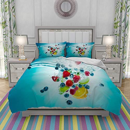 JOLIEAN Duvet Cover Set-Bedding,Fruity Splash Explosion,Quilt Cover Bedlinen-Microfibre 200x200cm with 2 Pillowcase 50x80cm