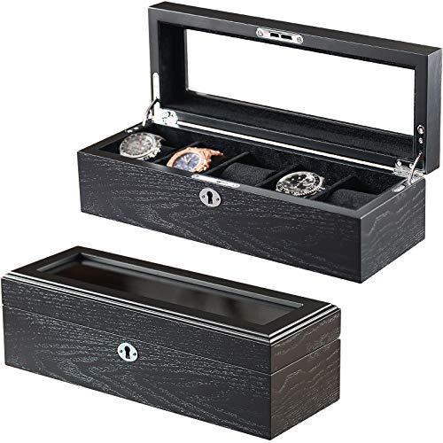 LOEAPEA Caja organizadora de relojes con 5 soportes de madera con ventana de cristal, regalo de lujo para hombres o mujeres