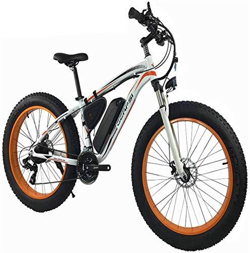 MQJ Ebikes 1000W Electric Mountainbike 26 \'\' Fat Reifen E-Bike 48V 13Ah Strand Cruiser Herren Sport Mountainbike Federung Gabel Hydraulische Scheibenbremsen, 21 Geschwindigkeiten,Weiß,1