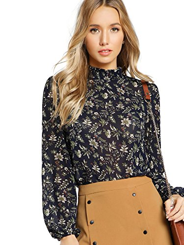 Floerns Women's Floral Print Long Sleeve High Neck Georgette Chiffon Blouse Blue S