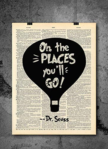 Dr Seuss - Oh The Places You'll Go Silhouette Art - Authentic Upcycled...