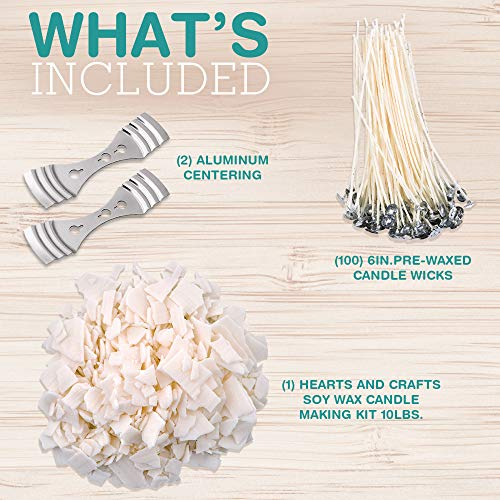 Hearts and Crafts Soy Wax and DIY Candle Making Supplies - 10lb Bag with 100 6-Inch Pre-Waxed Wicks, 2 Centering Devices