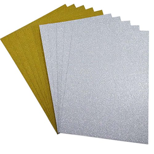 10 Blatt Glitzer Papier Glänzend Bastelpapier A4 Farbiges Tonpapier Sortiert Glitzer Karte Glitterkarton Patchwork Bling-Bling Karton für DIY Handwerk Scrapbooking Silber mit Gold