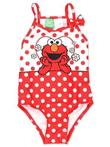 Sesame Street Elmo Girls Swimwear Swimsuit (24 Months, Red)
