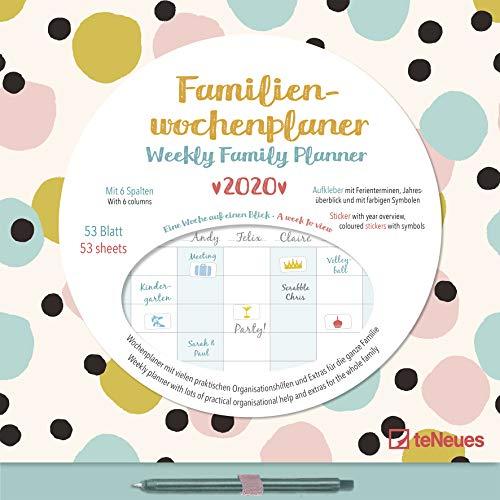 Familien Wochenkalender Dots 2020 - Wochenplaner - Familienkalender - Terminkalender - Kalender für die ganze Familie - 30,5x30,5cm