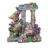 Pet Online Fish Tank paisajismo simulación ruinas romanas de coral columna de resina Europeo acuario artesanías decoración, 17 * 8.5 * 18cm