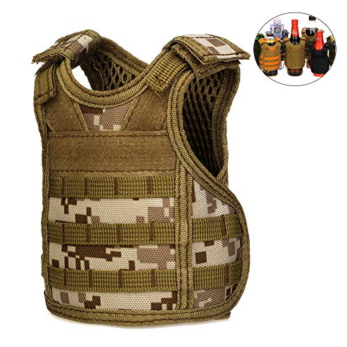 CyberDyer Beer Beverage Cooler gilet tattico mini molle regolabile bevanda Holder per 340,2 gram o 453,6 gram lattine o bottiglie Desert Camouflage