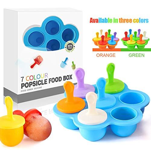 Eisförmchen Popsicle Formen, Mini Eisformen EIS Silikonform, Silikon EIS am Stiel Eislutscher Formen, Mini Eisform für Kinder, Baby, Förmchen zum Einfrieren von Obst oder Joghurt (Blau)