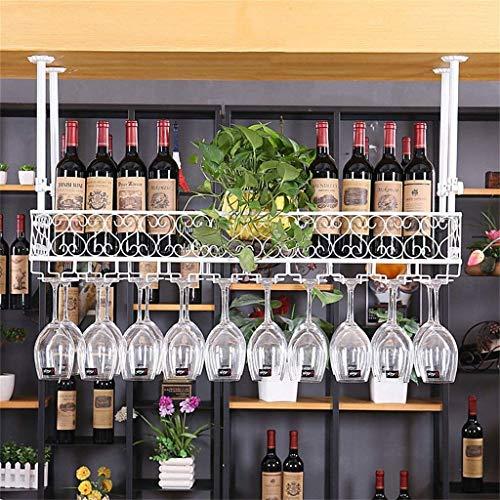 Estante para vinos, Bar, Restaurante, Colgante, Estante para Copas de Vino, Colgante, Hierro Retro Europeo Colgante al revés Estante para Botellas invertido Soporte para Copa para, Blanco, 100 * 25Cm