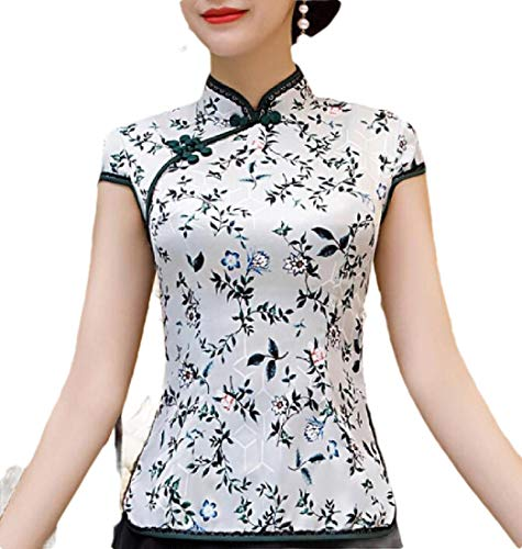 dahuo Damen-Bluse, Herbst, langärmelig, chinesisches Oberteil, Leinen, Qipao-Hemd Gr. Large, 8