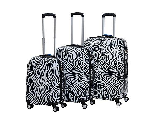 C&T HOT CASE Reisekoffer Trolley Hartschalen Polycarbonat mit Zahlenschloss und 4-Zwillingsrollen 20' 24' 28' 3er Set (20'/S, Zebra)