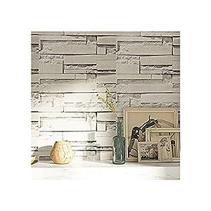 TJLMCORP- Papel pintado impermeable autoadhesivo, diseño de ladrillo blanco, gris, 45 cm x 3 metros, 17 pulgadas x 118 pulgadas