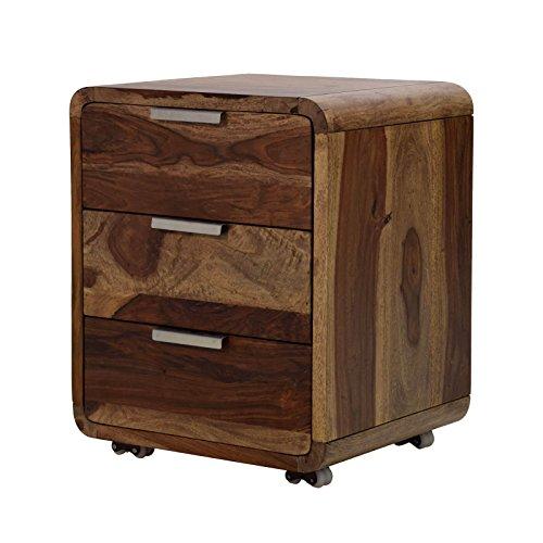 MÖBEL IDEAL Rollcontainer Sheesham Massivholz B50 x T40 x H60 cm Schubladenschrank für Schreibtisch 3 Schubladen Kommode dunkel-braun Büromöbel Bürocontainer Unikat